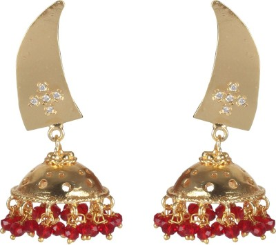 Jaipur Couture Red Traditional Brass Jhumki Earring