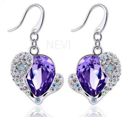 Nevi Purple Heart Swarovski Crystal Alloy Dangle Earring