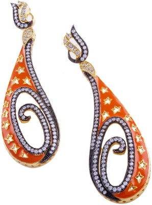 Jahnvi Orange spiral Metal Drop Earring