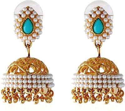 Royal Bling Pearly Studded Aqua Brass Jhumki Earring