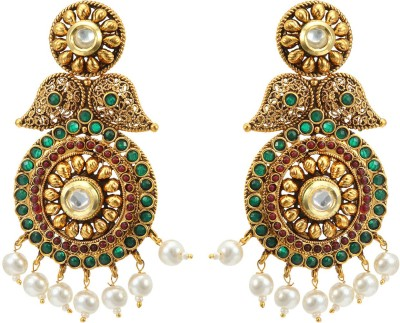 Fabroop Beautiful Designer Green Stone Crystal Alloy Chandelier Earring