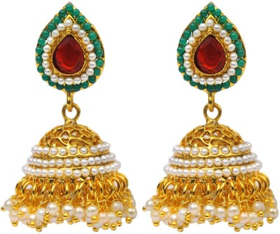 Jillcart Multicolor With Pearl Gold Plated Jhumka Ruby Copper Jhumki Earring