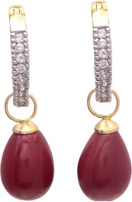My Sara Red Drop Cubic Zirconia Brass Drop Earring