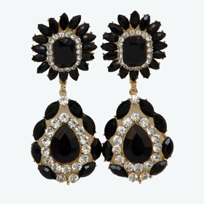 WoW Black And White Crystal Alloy Drop Earring