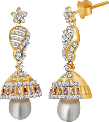 Vijisan 11.81 Ct. Beautiful Designer Ladies Cubic Zirconia Sterling Silver Jhumki Earring at flipkart