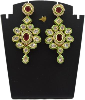 Bharat Sales Kundan meena designer copper Cubic Zirconia Copper Chandelier Earring