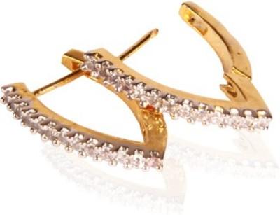 GHK CZ Bali V Shape Hoop Cubic Zirconia Alloy Huggie Earring