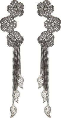 Envy Inbuild Diamond On 3 Metal Flowers With Chain & Leaf Brass Tassel Earring