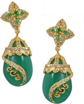 Kaumudi Golden Designer Green Color Alloy Jhumki Earring