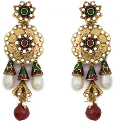 SBS Antique Maroon Diamond Brass Drop Earring