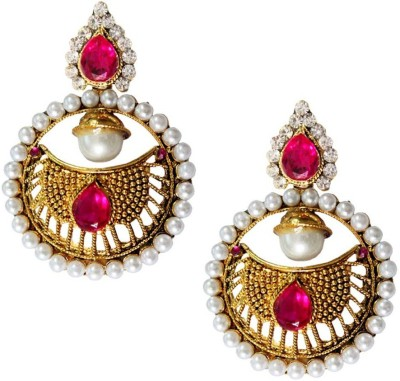 Beingwomen Elegant Gold Plated Pearl with Stone Studded Fashion Alloy Drop Earring