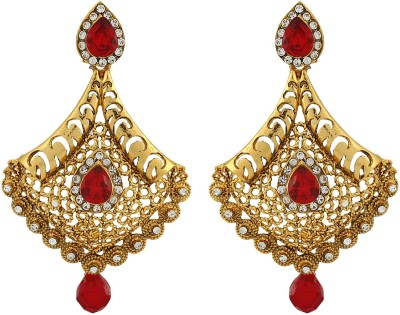 Asmara Gold Plated Traditional Stone Embedded Alloy Drop Earring