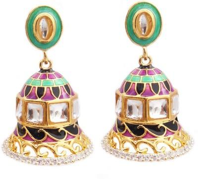 MK Jewellers DESIGNER AD BELL SHAPED MULTICOLR EARINGS WITH KUNDAN MEENA Brass Dangle Earring