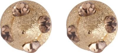 Siyora Classic Brown Brass Stud Earring