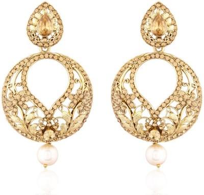 I Jewels Traditional Gold Plated Kundan & Stone Earrings Alloy Chandbali Earring