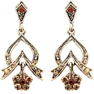 Just Women Absrtact Floral Traditional Crystal Alloy Drop Earring