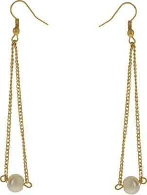 Niara Silver Pearl Hoop ER Metal Dangle Earring