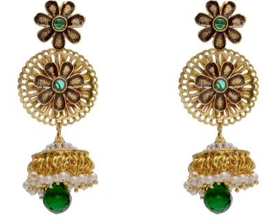 Pearls Cart Antique Alloy Jhumki Earring