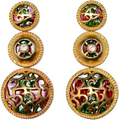 Ved Jewel Designer Brass Chandelier Earring