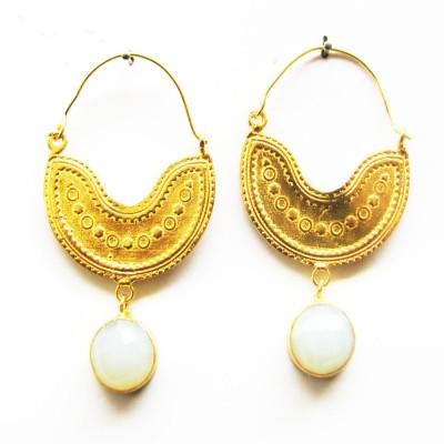 Gharaz semi precious Gold plated Moonstone Brass Hoop Earring