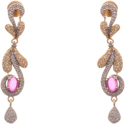 LAHARI ENTERPRISES LATEST Ruby, Zircon Alloy Drop Earring