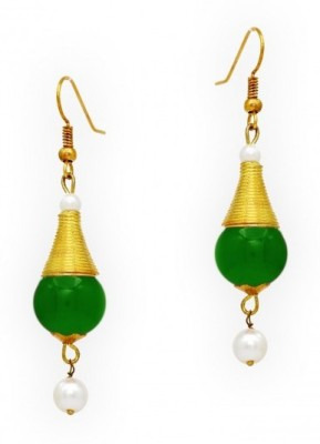 Jewelskaro New Designer fashion jewelry designs Green bead pearl Pearl, Beads Brass Dangle Earring