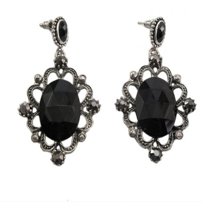Bandish oxidised look Black stone Cut out oval Alloy Drop Earring