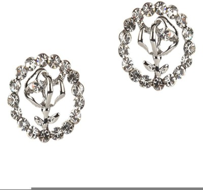 Golden Petals Silver Rose Cubic Zirconia Alloy Stud Earring