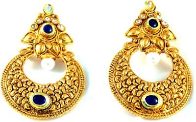 Grandiose Solid Antique Kundan Metal Chandbali Earring