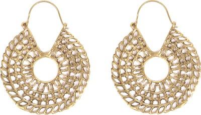 Divitha Allure Indo western golden wheel for the festive season. Metal Drop Earring