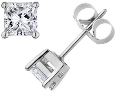 Amroha Crafts Square Princess Cut Silver Alloy Stud Earring
