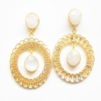 Gharaz semi precious Gold plated Moonstone Brass Dangle Earring