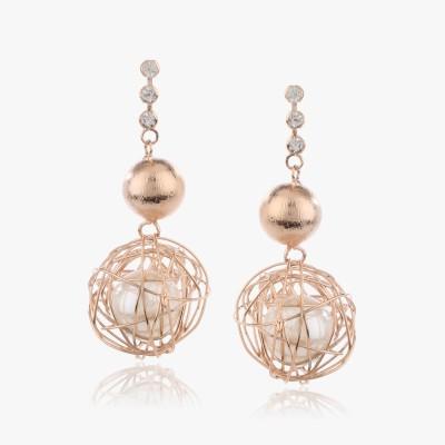Shamoda Golden Mesh Pearl Ball Metal Dangle Earring