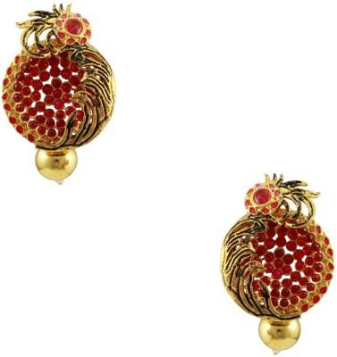 Orniza Amazing Ethnic Rajwadi Earrings in Rani Color Brass Drop Earring