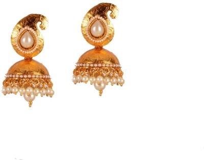 Ratnaraj India Beautiful & Delicate Pearls and Golden combination Copper Jhumki Earring