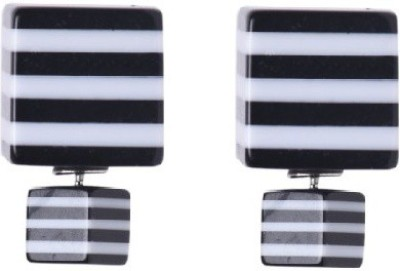 femnmas Black White Double Side Celebrity Alloy Stud Earring