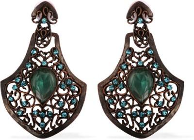 The Fine World Copper Studded Zircon Metal Drop Earring