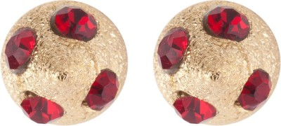 Siyora Classic Red Brass Stud Earring