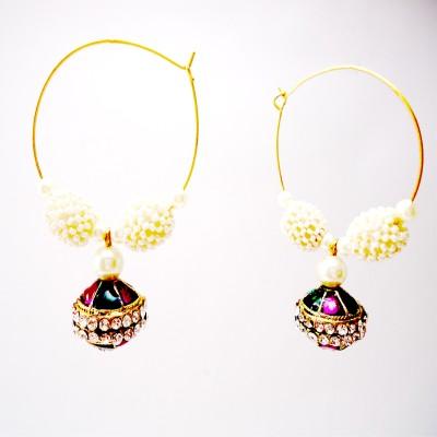 Gehnewala Kundan Emerald Brass Hoop Earring