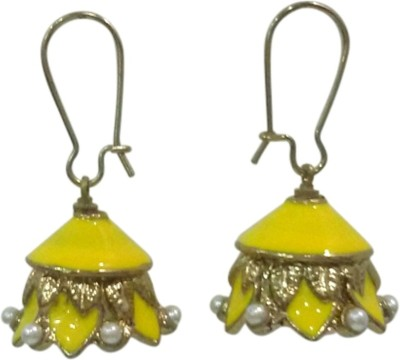 Deco Junction Ethnic Yellow Colour Small Alloy Jhumki Earring
