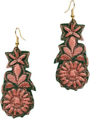 Supriya Designer Embroidery Green Fabric Dangle Earring