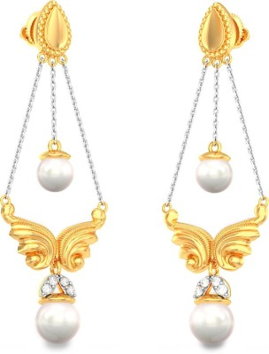 BlueStone Saras Yellow Gold 18kt Diamond, Pearl Drop Earring
