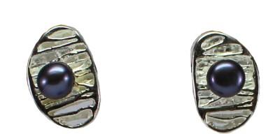 GnJ Oval Studs Pearl Sterling Silver Stud Earring