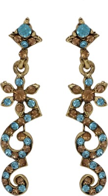Maisha Zigzag Blue with Gold Alloy Drop Earring