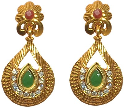 Pourni American Diamond & Color stone Metal Drop Earring