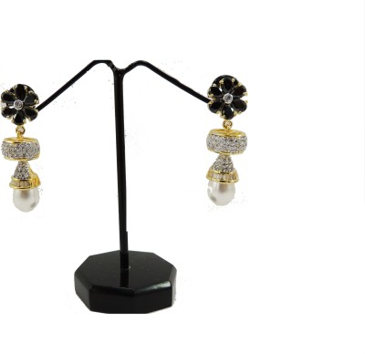 Bharat Sales Flower Stone With White Pearls Black Color Cubic Zirconia Copper Drop Earring