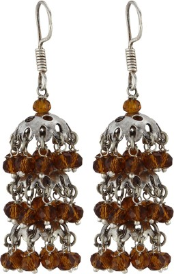 Silver Kreations Oxidised Chandelier Crystal, Quartz Nickel Jhumki Earring