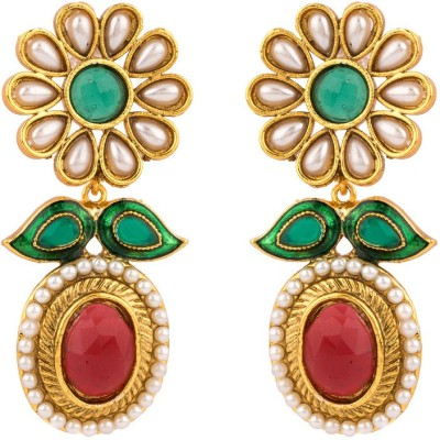 Rajwada Arts Red And Green Stone Flower Brass Drop Earring