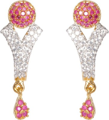 Abhijewels American Diamond Studded Gold Plated Alloy Drop Earring