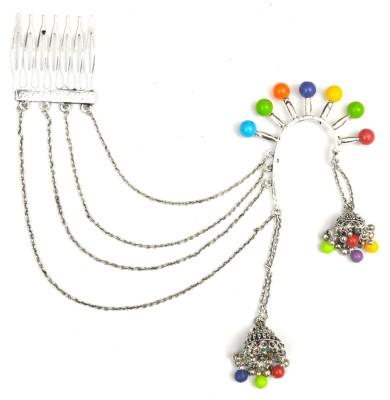 Gurjari Cuff With Hair Pin Brass Jhumki Earring